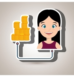 Woman and currency isolated icon design vector