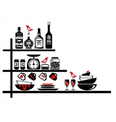 wall stickers black and red kitchen shelves vector image