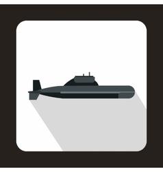 Military submarine icon flat style vector