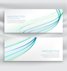 Abstract wavy business banner set in blue color vector