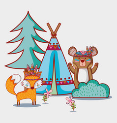 Bear and fox tribal animal with camp vector