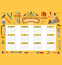 calendar 2018 template of work tools vector image