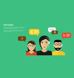 call center banner vector image