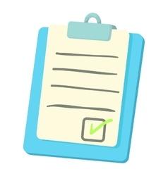 Checklist on a clipboard icon cartoon style vector