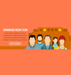 Coworking media team banner horizontal concept vector