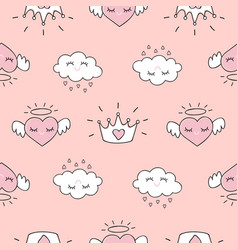 Cute seamless pattern with hearts and love doodles vector