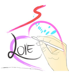 Drawing painting brush stroke heart love speed vector