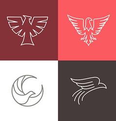 eagle and falcon linear logos vector image vector image