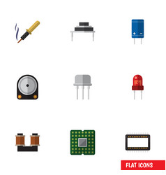 Flat icon electronics set of coil copper resist vector