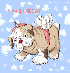 happy cartoon puppy dog portrait of cute little vector image