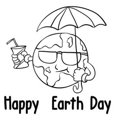 Happy earth day style with umbrella vector