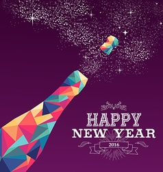 Happy new year 2016 color triangle champagne vector image vector image