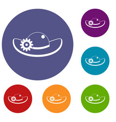 Hat with flower icons set vector
