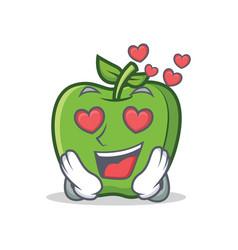 In love green apple character cartoon vector