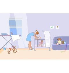 Mother with two young children in home interior vector image