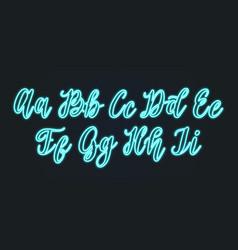 neon light handwritten font calligraphic vector image