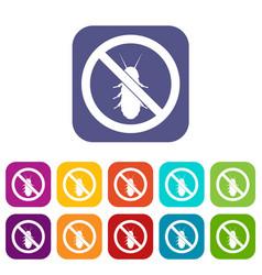 No termite sign icons set vector