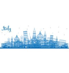 Outline italy skyline with blue landmarks vector