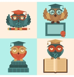 Owls in graduation caps set flat vector image