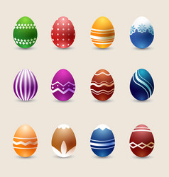 realistic color easter eggs set vector image