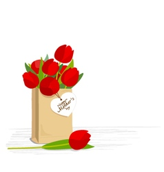 Red tulips in brown paper bag vector