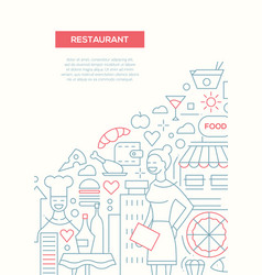 Restaurant - line design brochure poster template vector