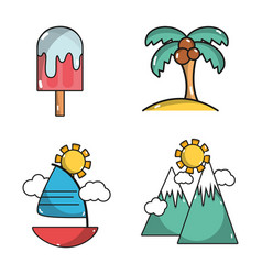 Set activities in the summer vacation season vector