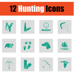 set of hunting icons vector image