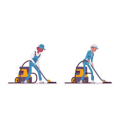 Set of male and female janitor vacuum cleaning vector