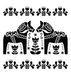 Swedish Dala or Daleclarian horse black and white vector image vector image