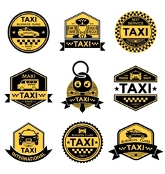 Taxi service black yellow emblems vector