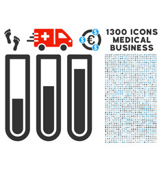 Test tubes icon with 1300 medical business icons vector