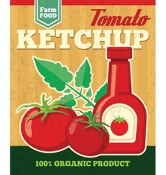 Tomato poster in vintage style vector image