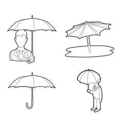 umbrella icon set outline style vector image