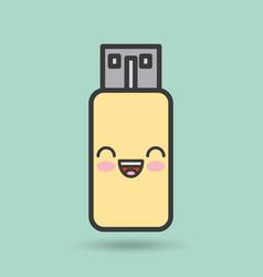 usb memory character kawaii style vector image
