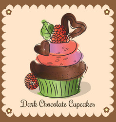 Vintage card dark chocolate cupcakes vector