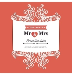 Vintage wedding invitation orange background vector