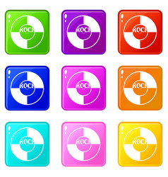 vinyl icons 9 set vector image
