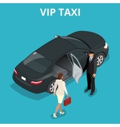 VIP taxi concept A pretty business woman getting vector image