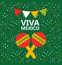 Viva mexico maracas music confetti pennant green vector
