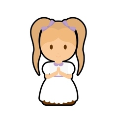 Pray girl kid religion icon vector