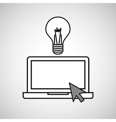 Hand draw laptop creativity social network media vector