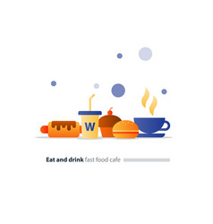 Eat and drink set of fast food flat icons cafe vector