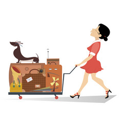 smiling woman with a luggage isolated vector image