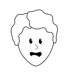 Line cute man face with hairstyle vector