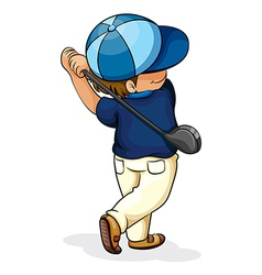An Asian boy playing golf vector image
