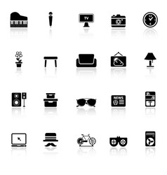 Living room icons with reflect on white background vector