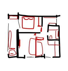 House plan doodle for your design vector