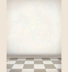 Empty room white wall tile floor vector