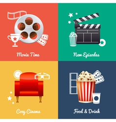 Cinematography set of square movie banners vector
